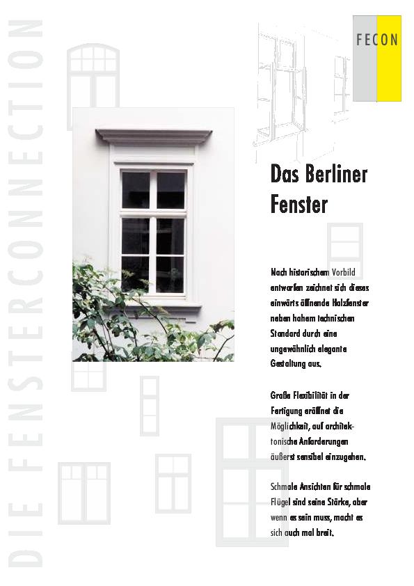 Häufig Berliner Fenster - Informationen | Fecon-Fenster FP77